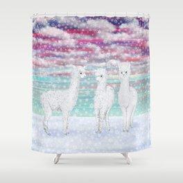 alpacas in the snow Shower Curtain