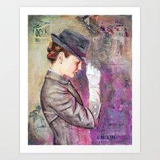 Grey Fedora Art Print