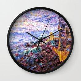 Blue Mood Nautical Seacoast landscape painting by Emil Nolde Wall Clock