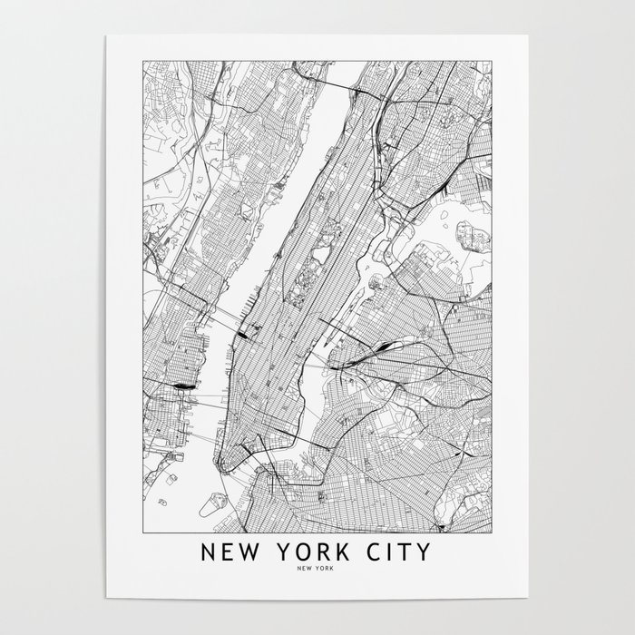 New York City White Map Poster by multiplicity | Society6 City Map Posters on