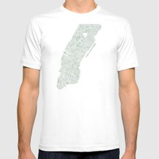 Map Manhattan NYC watercolor map Mens Fitted Tee MEDIUM White
