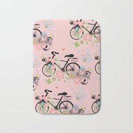 Bicycle and Colorful Floral Ornament Bath Mat