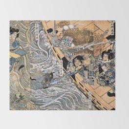Kuniyoshi Utagawa, The ghost of Taira Tomomori, Daimotsu bay Throw Blanket