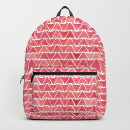 Watercolor Triangle Pattern - Red + Pink Backpack