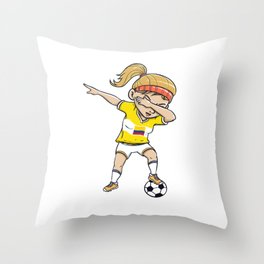 Dabbing Soccer Player Funny Colombia Fan design girl Throw Pillow