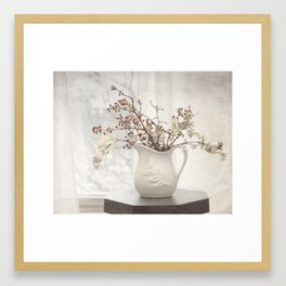 Berries in White Vase Framed Art Print