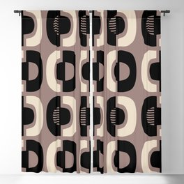 Retro Mid Century Modern Pattern 115 Black and Beige Blackout Curtain