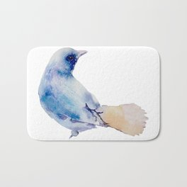 Watercolor Bluebird Painting Bath Mat