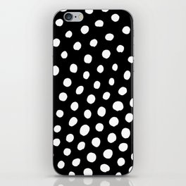 White Dots with Black Background iPhone Skin