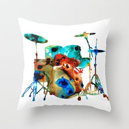 The Drums - Music Art By Sharon Cummings Throw Pillow