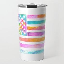 American Flag Watercolor Painting Travel Mug