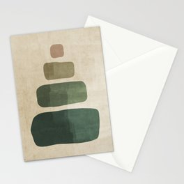 Minimalist Green and Beige Rustic Brushstrokes #1 Stationery Cards