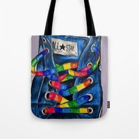 converse Tote Bags featuring Converse by Tina Mooney