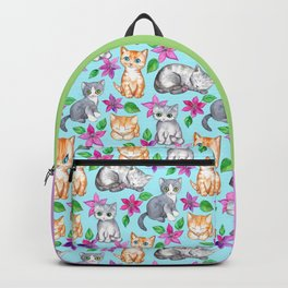 Kittens and Clematis - blue Backpack