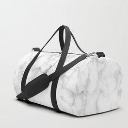 Marble White Grey Pattern Duffle Bag