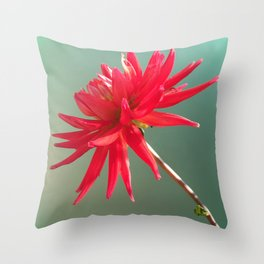 Red Imperfect Flower Throw Pillow