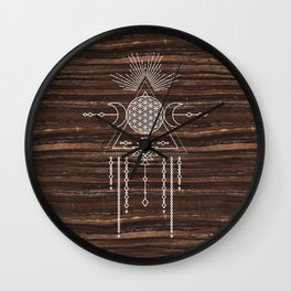 Triple Goddess - Flower of Life - Moon Phase - Shaman - Tribal - Sri Yantra - Brown Marble - Wood - Wall Clock