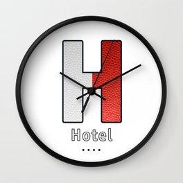 Hotel - Navy Code Wall Clock