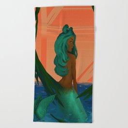 Peeking Mermaid Beach Towel