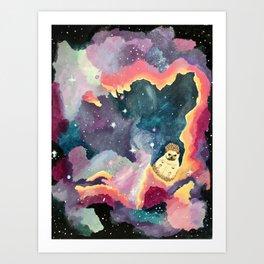 Hedgehog in a Space Nebula Art Print