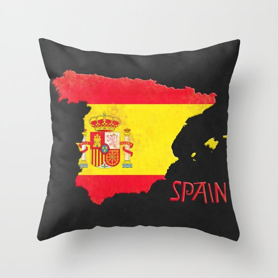 Spain Vintage Map Throw Pillow