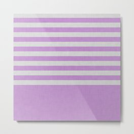 Violet and gray color block and stripes Metal Print