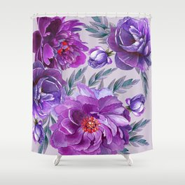 Violet and Purple Flowers Shower Curtain