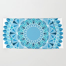 blue snowflake mandala Beach Towel