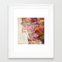 san diego Framed Art Prints featuring San Diego by MapMapMaps.Watercolors