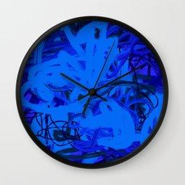 Blue & Navy Abstract Wall Clock