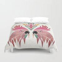 parrot Duvet Covers featuring parrot by Manoou