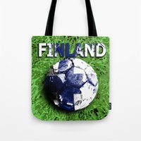 finland Tote Bags featuring Old football (Finland) by seb mcnulty