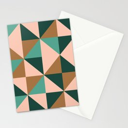Retro Triangles in Blush Pink, Gold, and Teal Stationery Cards