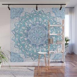Aqua Lace Mandala Wall Mural