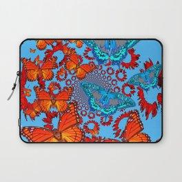 Blue & Orange Butterflies Abstract Pattern Art Laptop Sleeve
