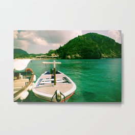 Tropical Boats with Green Sea Metal Print