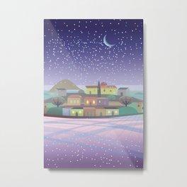 Snowing Village at Night Metal Print
