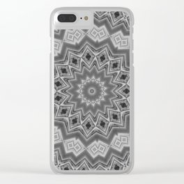 Shades of Grey and Black Mandala Kaleidoscope A128B Clear iPhone Case