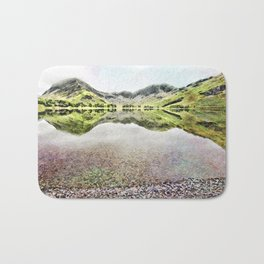Buttermere Mirror Green Mountains, Lake District, UK. Watercolour landscape. Bath Mat