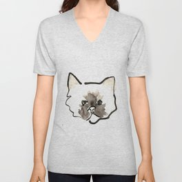 Watercolor and Ink Cute Cat Print Unisex V-Neck