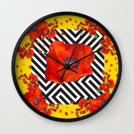 ABSTRACT ORANGE POPPIES MODERN ART YELLOW PATTERNS Wall Clock