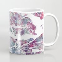 stockholm Mugs featuring STOCKHOLM #2 by MapMapMaps.Watercolors