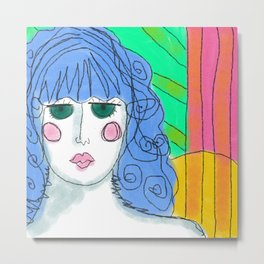 Girl with Blue Hair Abstract Digital Portrait of a Woman Metal Print