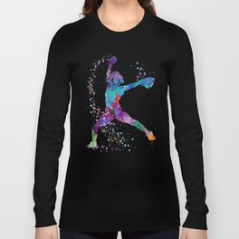 Girl Baseball Softball Pitcher Long Sleeve T-shirt