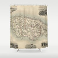 jamaica Shower Curtains featuring Vintage Map of Jamaica (1851) by BravuraMedia