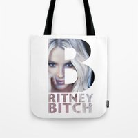 britney Tote Bags featuring Britney Bxxch by eriicms