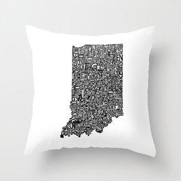 Typographic Indiana Throw Pillow