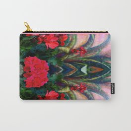 Pink Design Agave & Red Geraniums Still Life Painting Carry-All Pouch