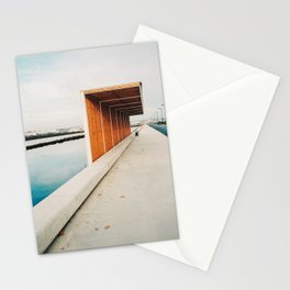 modern wooden bus stop in the salt flats near Tavira, Portugal | Photo Print, Travel Photography Europe Stationery Cards