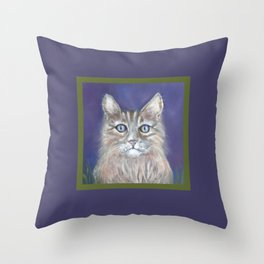 CUTE YOUNG TABBY CAT GREY BEIGE CHALK PASTEL DRAWING Throw Pillow